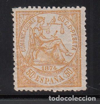 ESPAÑA, 1873 EDIFIL Nº 149 /*/, 50 C AMARILLO, ALEGORÍA DE LA JUSTICIA (Sellos - España - Amadeo I y Primera República (1.870 a 1.874) - Nuevos)