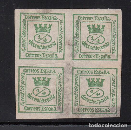 ESPAÑA, 1873 EDIFIL Nº 130, 4/4 VERDE AMARILLENTO, CORONA MURAL (Sellos - España - Amadeo I y Primera República (1.870 a 1.874) - Usados)