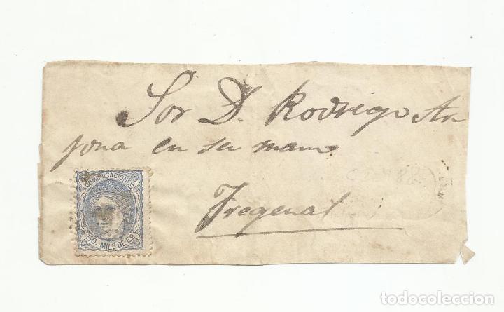 FRONTAL CIRCULADA A FREGENAL BADAJOZ (Sellos - España - Amadeo I y Primera República (1.870 a 1.874) - Cartas)