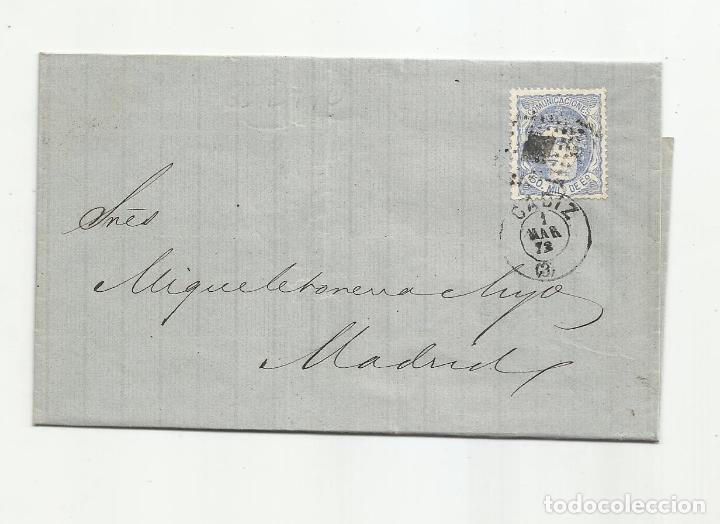 ENVUELTA CIRCULADA 1872 DE CADIZ A MADRID CON FECHADOR LLEGADA (Sellos - España - Amadeo I y Primera República (1.870 a 1.874) - Cartas)