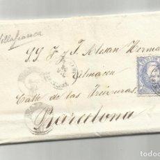 Sellos: CIRCULADA Y ESCRITA NEGOCIOS AZUFRE 1870 DE VILAFRANCA A BARCELONA. Lote 222519478