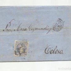 Sellos: CIRCULADA Y ESCRITA NEGOCIOS TRAPO GALLEGO 1870 DE VALLADOLID A TOLOSA GUIPUZCOA. Lote 222519710