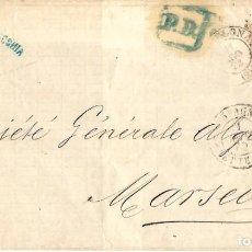 Sellos: 1872 CARTA ENVUELTA BARCELONA A MARSELLA. MATRONA 12 CUARTOS EDIFIL 113. Lote 229188270
