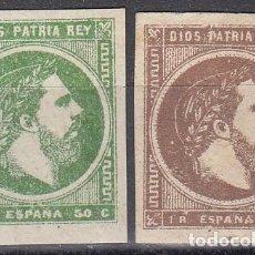 Francobolli: ESPAÑA 160 / 161- CARLOS VII. 1875. SERIE NUEVA LUJO. CAT. 28€.. Lote 38756180