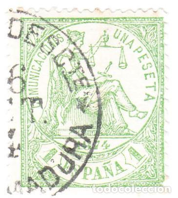 EDIFIL 150 1 PESETA MATASELLOS AMBULANTE DESCENDENTE EXTREMADURA (Sellos - España - Amadeo I y Primera República (1.870 a 1.874) - Usados)