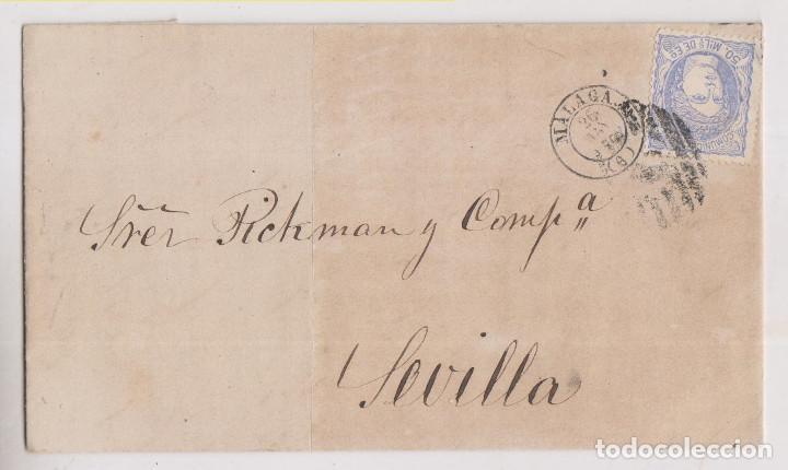 CARTA ENTERA. MÁLAGA. 1870. A SEVILLA. PARRILLA Y FECHADOR (Sellos - España - Amadeo I y Primera República (1.870 a 1.874) - Cartas)