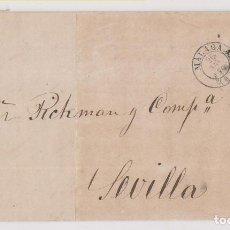 Sellos: CARTA ENTERA. MÁLAGA. 1870. A SEVILLA. PARRILLA Y FECHADOR. Lote 236456150