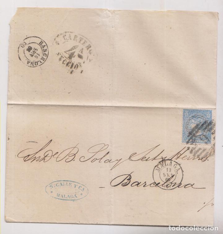 ENVUELTA. MÁLAGA A BARCELONA. 1866. DORSO MARCA DEL CARTERO (Sellos - España - Amadeo I y Primera República (1.870 a 1.874) - Cartas)