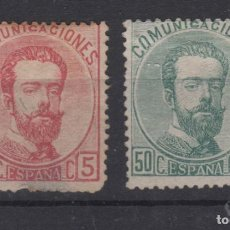 Sellos: 1872 REINADO AMADEO I EDIFIL 126* Y 118(º) VC 151€. Lote 237250280