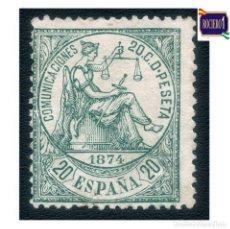 Sellos: ESPAÑA 1874. EDIFIL 146. ALEGORÍA DE LA JUSTICIA. NUEVO* MH. Lote 237905625