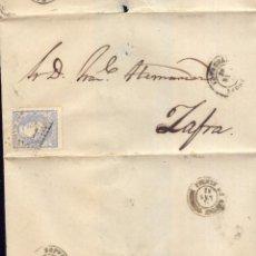 Selos: AÑO 1870 EDIFIL 107 ENVUELTA A ZAFRA MATASELLOS ROMBO FREGENAL BADAJOZ. Lote 239661865