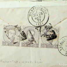 Sellos: 1872 (28 OCT) BARCELONA A FRANCIA. FRANQUEO 12C. X 3 AMADEO I (TARIFAS 1 OCT A 31 DIC 1872.. Lote 241145555
