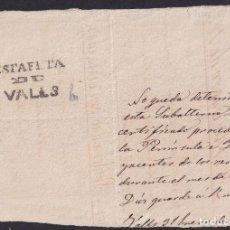 Sellos: 1873. VALLS. DOCUMENTO DE ESTAFETA.MARCA ESTAFETA/DE/VALLS COMO MEMBRETE. 3ª GUERRA CARLISTA.. Lote 243324845