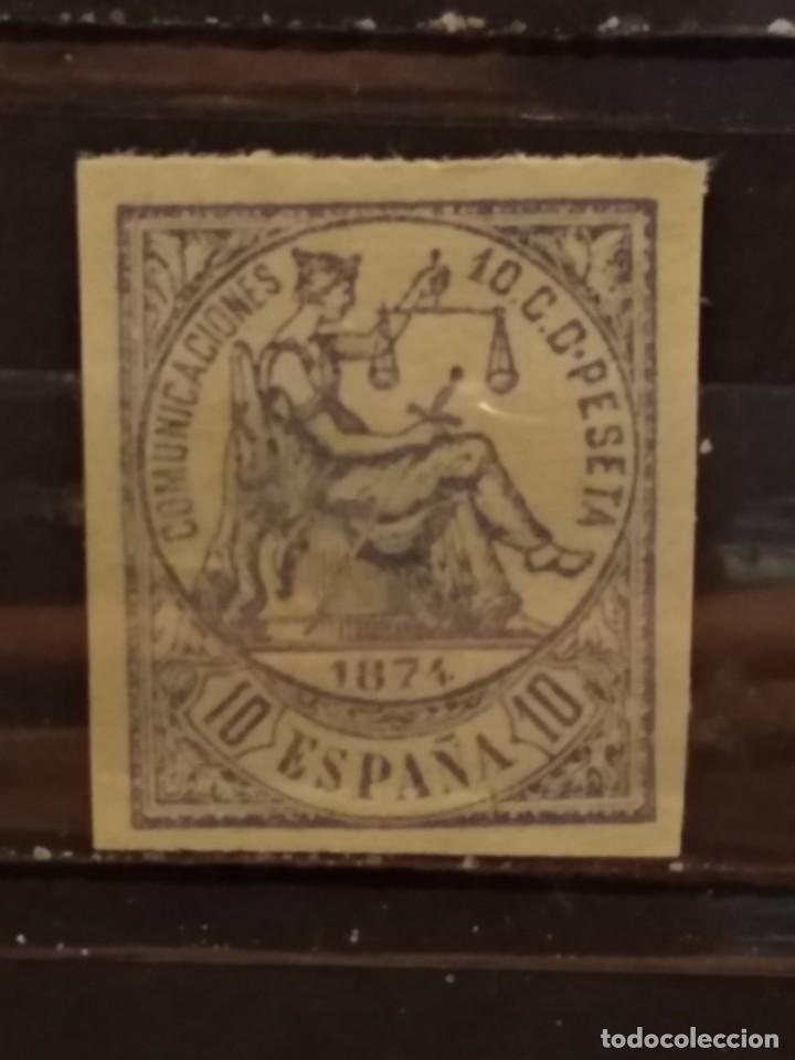AÑO 1874 ALEGORÍA DE LA JUSTICIA SELLO NUEVO DE 10 CÉNTIMOS EDIFIL 145 (Sellos - España - Amadeo I y Primera República (1.870 a 1.874) - Nuevos)