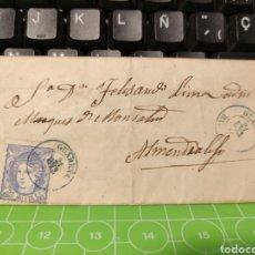 Sellos: CARTA DE GUAREÑA A ALMENDRALEJO BADAJOZ. 1871 .MUY RARA. Lote 255595255
