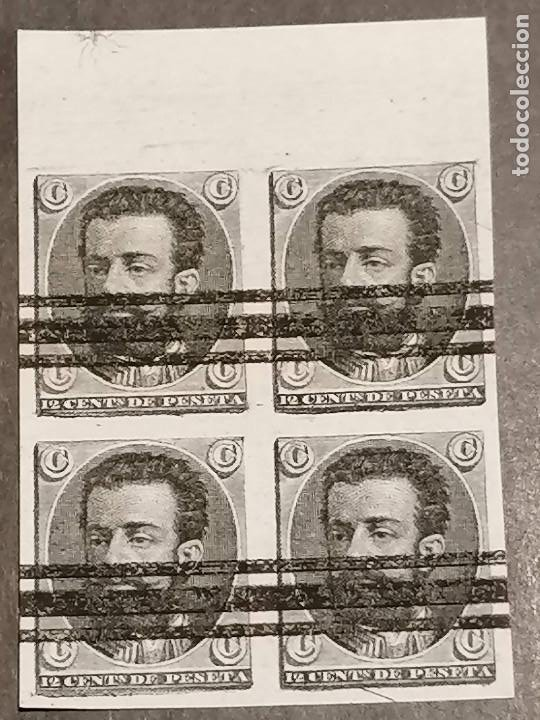 ESPAÑA NO EMITIDO GÁLVEZ 851S 4 EN BLOQUE ENSAYO 12 CÉNTIMOS DE AMADEO I ,SIN DENTAR , BARRADO (Sellos - España - Amadeo I y Primera República (1.870 a 1.874) - Usados)
