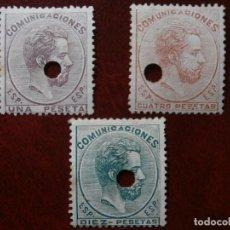 Sellos: ESPAÑA - PRIMER CENTENARIO - TELEGRAFOS 1872-73 - EDIFIL 127/128/129 -.. Lote 264155784
