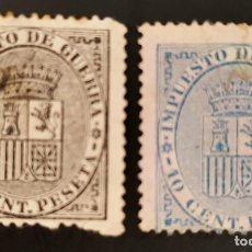 Sellos: ESPAÑA. I REPÚBLICA, 1874. IMPUESTO DE GUERRA.ESCUDO DE ESPAÑA. SERIE, 2 VALORES (Nº 141-142 EDIFIL). Lote 139965906