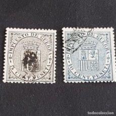 Sellos: ESPAÑA, 1874, ESCUDO DE ESPAÑA, EDIFIL 141-142, COMPLETA, USADOS, ( LOTE AR ). Lote 276711788