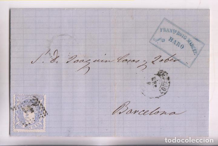 CARTA ENTERA. HARO, RIOJA. 1872. ALMACÉN DE TEJIDOS FRANCISCO ROIG. (Sellos - España - Amadeo I y Primera República (1.870 a 1.874) - Cartas)