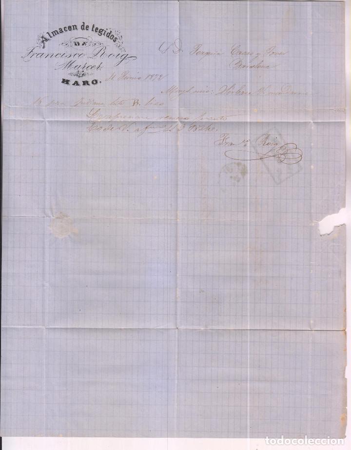 Sellos: CARTA ENTERA. HARO, RIOJA. 1872. ALMACÉN DE TEJIDOS fRANCISCO ROIG. - Foto 2 - 277659063