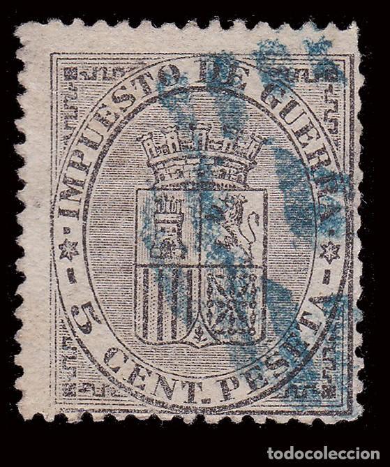 Sellos: I REPÚBLICA 1874.Escudo de España.5c.Parrilla 2 AZUL.Edifil 141 - Foto 2 - 278960978