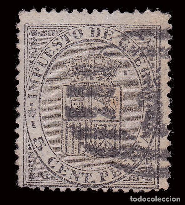 Sellos: I REPÚBLICA 1874. Escudo de España.5c.Parrilla1.Edifil 141 - Foto 2 - 278962463