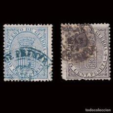 Sellos: 1874.ESCUDO DE ESPAÑA.USADO.EDIFIL 141-142. Lote 278964218