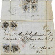 Sellos: 1872 (10 AGO) CARTA HUELVA A LONDRES. FRANQUEO 50 MIL. MATRONA (EDIFIL 108) X 8. TARIFA DOBLE. Lote 280521738