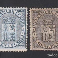 Francobolli: ESPAÑA, 1874 EDIFIL Nº 141 / 142, /**/, ESCUDO DE ESPAÑA. SIN FIJASELLOS. Lote 286873178