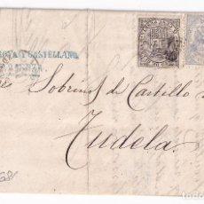 Sellos: CARTA ENTERA. ZARAGOZA A TUDELA, NAVARRA. 1874. IMPUESTO DE GUERRA. Lote 287372808