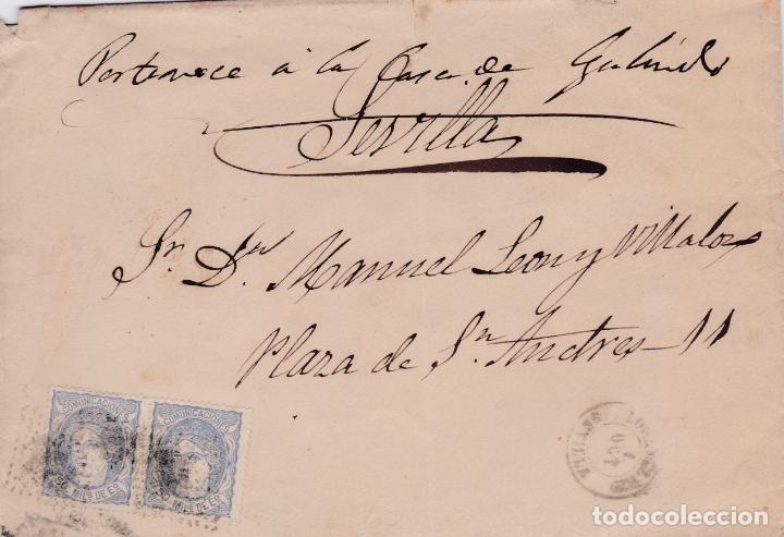 CARTA DE LORA DEL RIO A SEVILLA, SELLO 107 PAREJA, MATASELLO PARRILLA Y FECHADOR FALTA AÑO (Sellos - España - Amadeo I y Primera República (1.870 a 1.874) - Cartas)