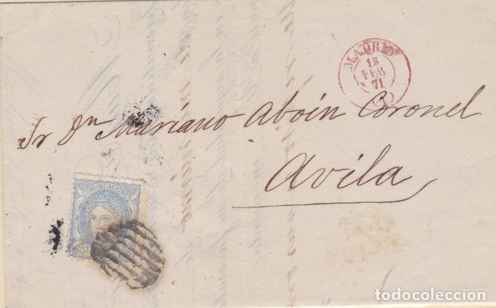 CARTA DE MADRID A AVILA, SELLO 107, MATASELLO PARRILLA DE 1852 Y FECHADOR MADRID ROJO (Sellos - España - Amadeo I y Primera República (1.870 a 1.874) - Cartas)