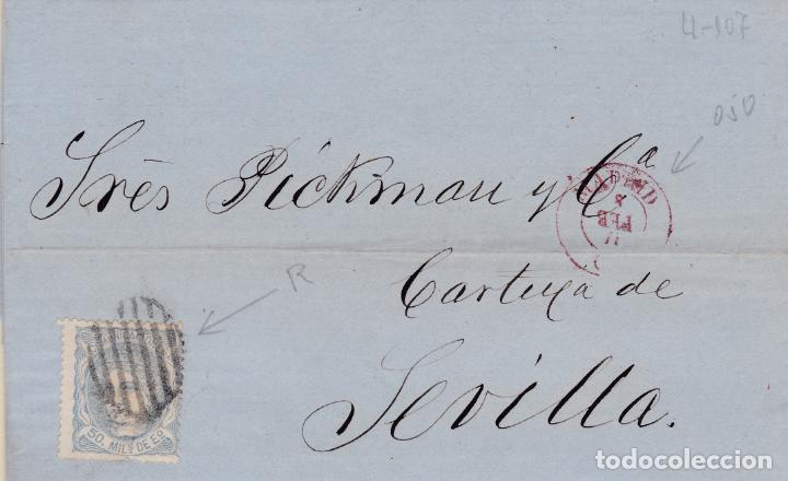 CARTA DE MADRID A SEVILLA, SELLO 107, MATASELLO PARRILLA DE 1852 Y FECHADOR MADRID ROJO GIRADO (Sellos - España - Amadeo I y Primera República (1.870 a 1.874) - Cartas)