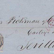 Sellos: CARTA DE MADRID A SEVILLA, SELLO 107, MATASELLO PARRILLA DE 1852 Y FECHADOR MADRID ROJO GIRADO. Lote 288532163