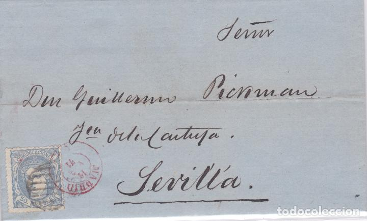 CARTA DE MADRID A SEVILLA, SELLO 107, MATASELLO PARRILLA DE 1852 Y FECHADOR MADRID ROJO (Sellos - España - Amadeo I y Primera República (1.870 a 1.874) - Cartas)