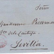 Sellos: CARTA DE MADRID A SEVILLA, SELLO 107, MATASELLO PARRILLA DE 1852 Y FECHADOR MADRID ROJO. Lote 288532363
