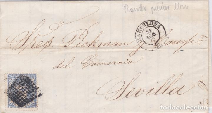 CARTA DE BARCELONA A SEVILLA, SELLO 107, MATASELLO ROMBO PLENO Y FECHADOR NEGRO (Sellos - España - Amadeo I y Primera República (1.870 a 1.874) - Cartas)