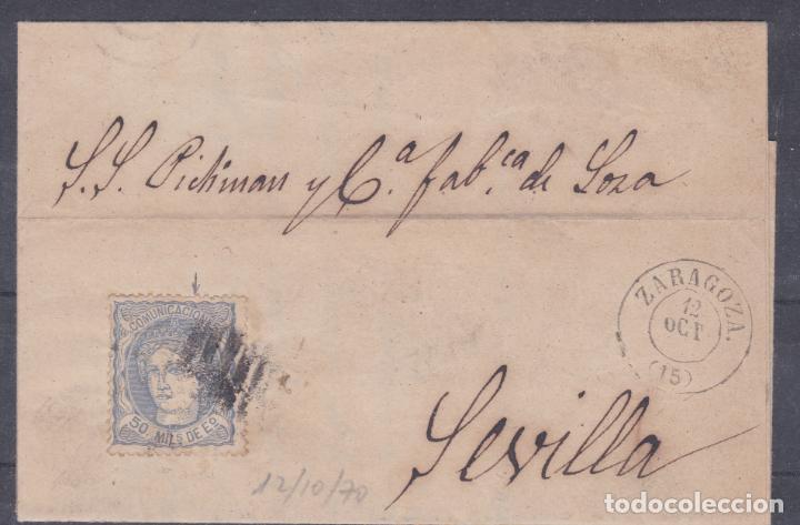 CARTA DE ZARAGOZA A SEVILLA, SELLO 107, MATASELLADO. (Sellos - España - Amadeo I y Primera República (1.870 a 1.874) - Cartas)