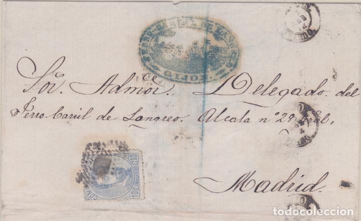CARTA DE GIJON A MADRID, SELLO 121 MATASELLADO ROMBO DE PUNTOS Y MARCA FERROCARRIL LANGREO (Sellos - España - Amadeo I y Primera República (1.870 a 1.874) - Cartas)