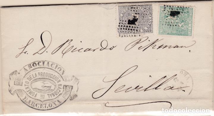 CARTA DE BARCELONA A SEVILLA, SELLO 133 141 MATASELLADOS DON ROMBO DE PUNTOS CON BONITA MARCA (Sellos - España - Amadeo I y Primera República (1.870 a 1.874) - Cartas)
