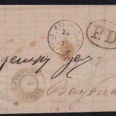Sellos: 1872 GOBIERNO PROVISIONAL CARTA A BAYONA EDIFIL 113 VC 51€. Lote 288690278