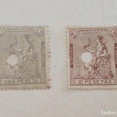 Sellos: 2 SELLOS AÑO 1873 - EDIFIL 138, 1 PESETA Y EDIFIL 140, 10 PESETAS ALEGORIA DE LA I REPUBLICA. Lote 291500783