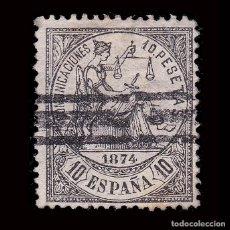 Selos: ESPAÑA.BARRADO.ALEGORÍA JUSTICIA.1874.10P NEGRO.EDIFIL 152. Lote 293486183