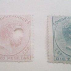 Sellos: SELLOS EDIFIL 128 Y 129 T DE 1872-1873 DE AMADEO DE SABOLLA DE 4 Y 10 PESETAS. Lote 293752053