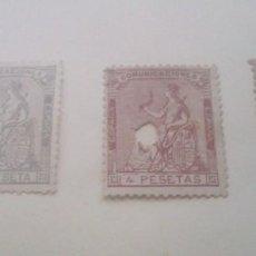 Sellos: 3 SELLOS 1873 - EDIFIL 138, 1 P. , 4 P. EDIFIL 139 Y EDIFIL 140, 10 P. TALADROS ALEGORIA I REPUB.. Lote 293756833