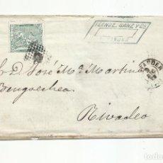Sellos: ENVUELTA CIRCULADA 1873 DE SANTANDER A RIVADEO. Lote 295810838