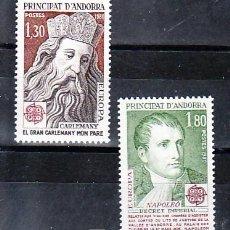 Sellos: ANDORRA FR. 284/5 SIN CHARNELA, TEMA EUROPA 1980, PERSONAJES CARLOMAGNO, NAPOLEON, . Lote 119878779