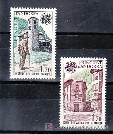 ANDORRA FR. 276/7 SIN CHARNELA, TEMA EUROPA 1979, HISTORIA DEL CORREOS, (Sellos - Extranjero - Europa - Andorra)
