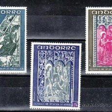 Sellos: ANDORRA FR. 221/3 SIN CHARNELA, RETABLO DE LA CAPILLA DE SAN JUAN DE CASELLES, . Lote 8749458